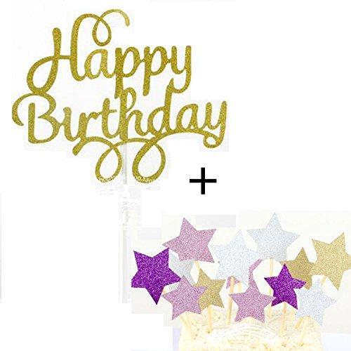 1 Set Kuchendekoration Kuchen Dekorieren Geburtstagskuchen Topper Cake Toppers Deko, Happy Birthday Gold sowie Sterne
