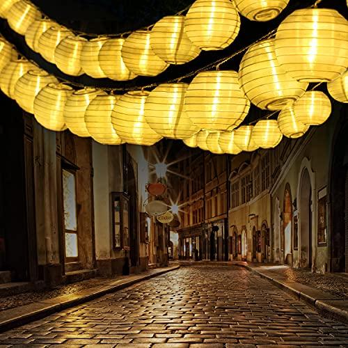 Qedertek 10M Catena Luminosa da interno con 30 Lanterne, Filo Trasparente, Luci Stringa con Adattatore EU, Luci Decorativa per interno (Bianco Caldo)