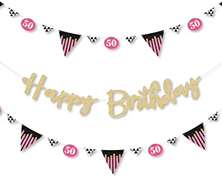Big Dot of Happiness Chic 50th Birthday - Pink, Black and Gold - Birthday Party Letter Banner Decoration - 36 Banner Cutouts - No-Mess Real Gold Glitter Happy Birthday Banner Letters