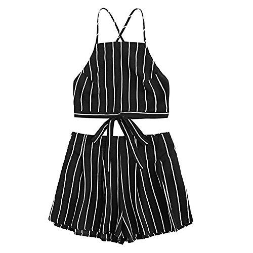 TUDUZ Shorts und Top Sets Damen Sommer Strand Zweiteiler Schulterfrei Sunflower Printed Beachwear Chiffon Boho Ärmellos Crop Tops (Schwarz -B, M)