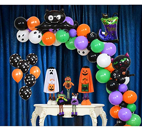 Kubert Halloween Balloon Garland Arch Kit 16 Ft Long 120pcs Orange Black Purple Fresh Green Balloons for Kids Birthday Party Decorations and Front Door Porch Decor