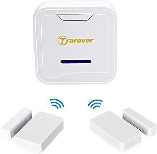 Trarover Wireless Magnetic Door Entry Sensor Alarm Chime, Door Open Alert for Shop, Garage, Window Security for Kids, Elders Safety, Anti-theft, 2 Secure Contact Sensors, 1 Doorbell Plugin Receiver