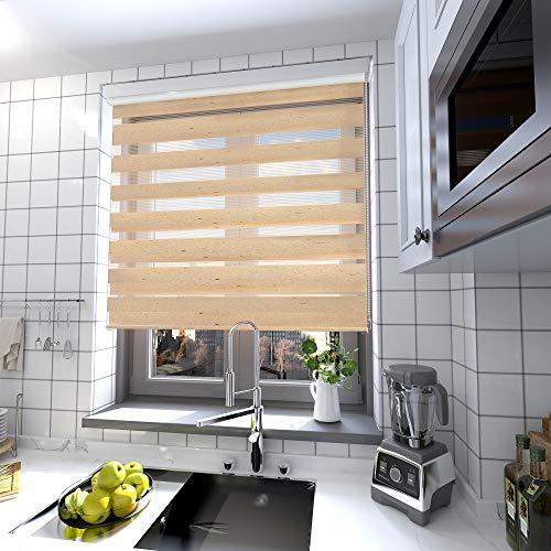 interGo Doppelrollo Klemmfix Ohne Bohren, B90cm x H210cm Duo Rollo mit Aluminium Kassette, Seitenzugrollo Easyfix für Fenster & Türen - Linen