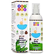 Bey Bee Brand Provides Sunscreen lotion for your Baby and Kids with broad Spectrum SPF 50 PA+++ 120ml - UVA/UVB Sun Protection, Water Resistance Compact, Perfect for Traveling, Formulation to give long lasting Protection to your Baby. Bey Bee Mineral...