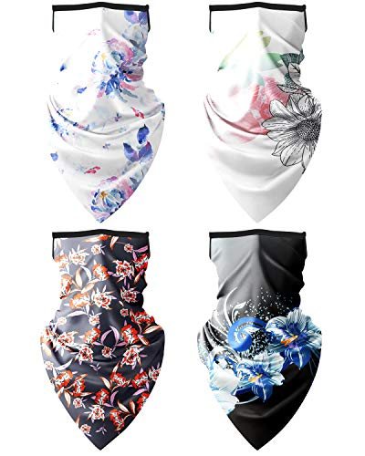 Adopha Face Mask Bandana,4 Pack Ear Loops Rave Face Balaclava Women Men Neck Gaiter Scarf Face Cover for Outdoors,Motorcycle,Biking, G7, Large