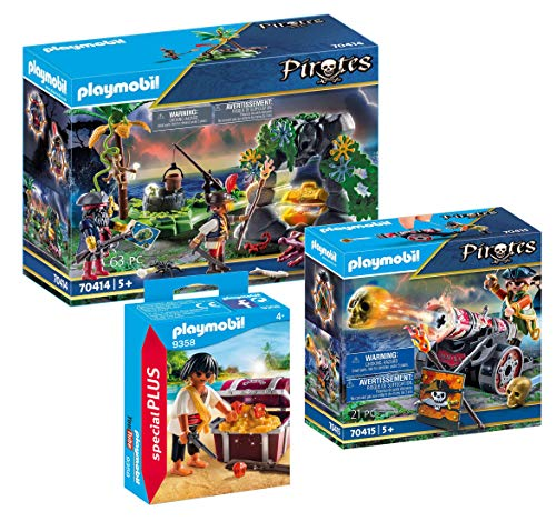 PLAYMOBIL Pirate 3-Piece Set: 9358 Pirate with Treasure Chest + 70414 Pirate Treasure Hiding Place + 70415 Pirate with Cannon