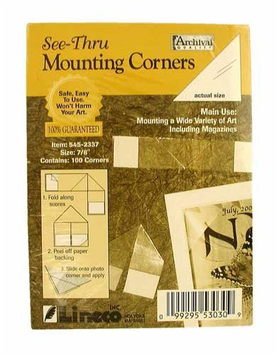 "Lineco Self-Folding Mounting Corners, 7/8"" Clear (100/Pkg.)"