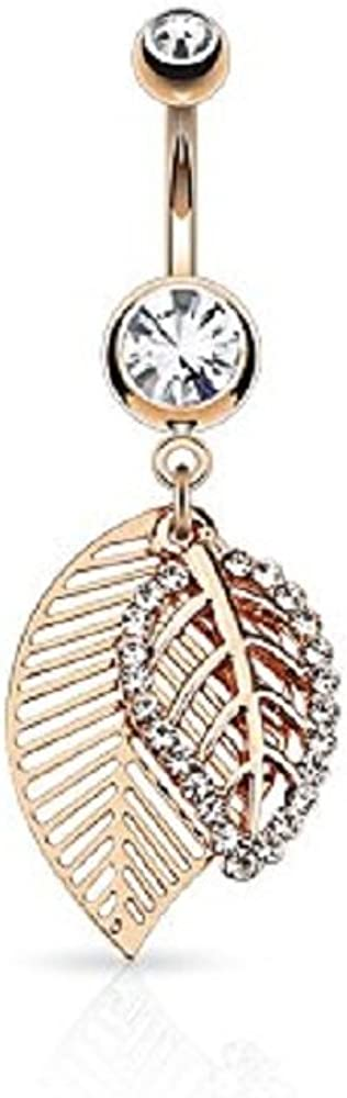 CZ Free shipping anywhere in the nation Paved Leaves Max 78% OFF Dangle 316L Steel Jeweled Button Surgical Belly