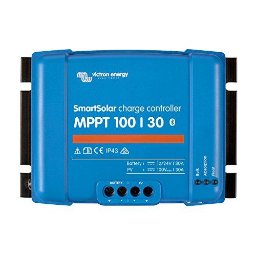 Controlador de carga solar Victron SmartSolar MPPT 100/30 30A para paneles solares de hasta 440W (12V) / 880W (24V) y hasta 100V. Con Bluetooth incorporado para monitoreo y programación avanzados.