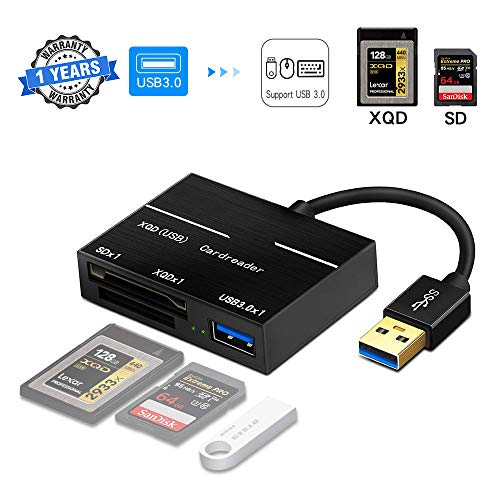 Kartenleser der XQD M-Serie und G-Serie, USB-Adapter, USB 3.0-Flash-Speicherkartenleser mit zwei Steckplätzen Hochgeschwindigkeits-Schreibzugriff (bis zu 5 Gbit / s) SD (HC / XC).