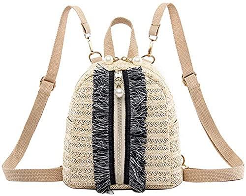 Bolsos de hombro dobles de paja a la moda para mujer, bolso escolar estilo mochila para adolescentes, bolso de ratán-B