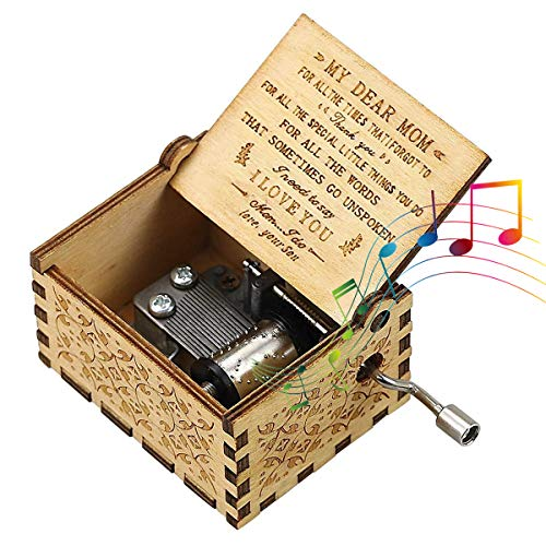 CAMKONG Mom's Wooden Music Box, You Are My Sunshine, a Gift from Daughter and Son to Mom, Vintage Laser Engraved Hand Crank Wooden Music Box, Antique Gift for Mom, Birthday, Mother's Day.
