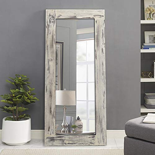 ElevensMirror Wood Framed Wall Mirror Rectangle Floor Dressing Mirror Solid Wood Frame Hanging Mirror Rustic Natural Wooden Mirror (Weathering White (58