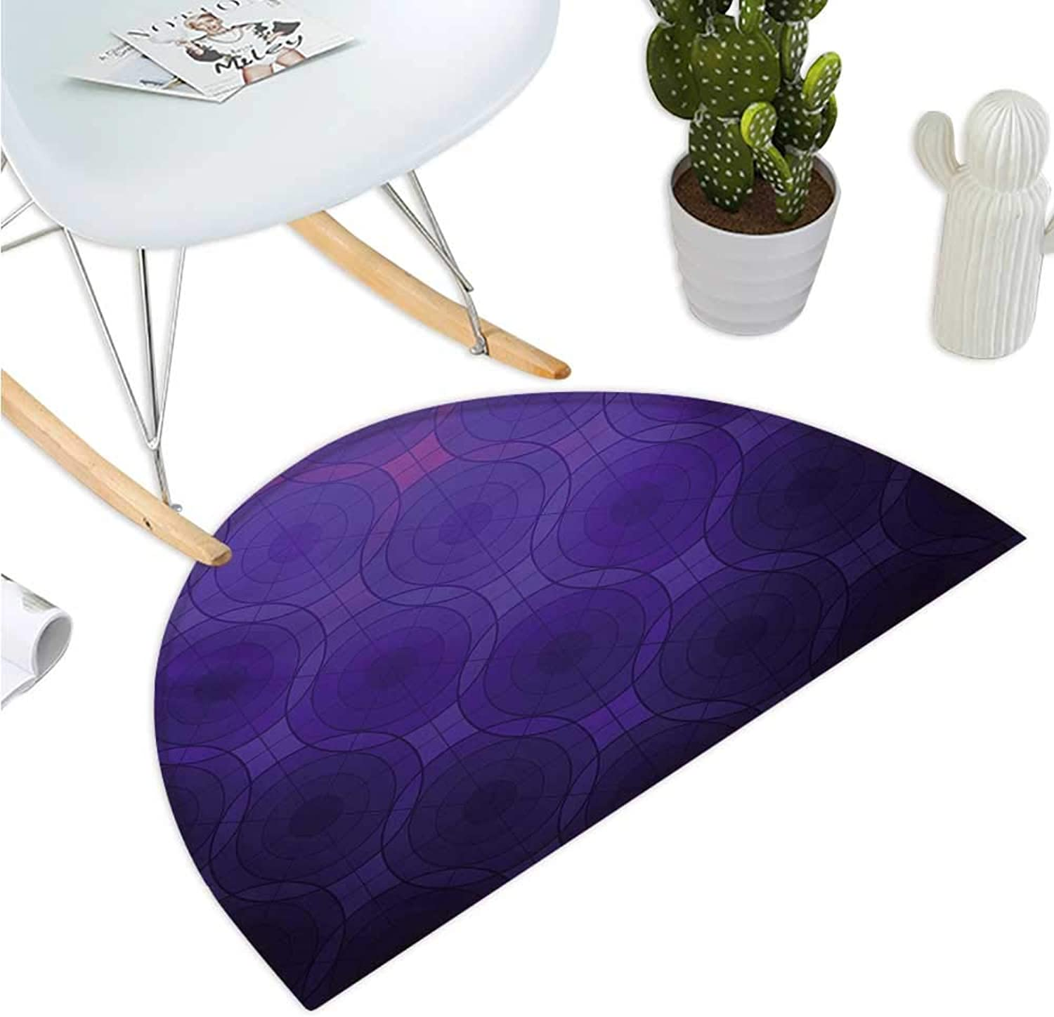 Indigo Half Round Door mats Geometric Circles Tile Like Detailed Image with Inner Details and Lines Entry Door Mat H 39.3  xD 59  Purple and Magenta bluee