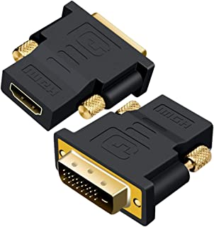 DVI to HDMI Adapter, TERSELY [2-Pack] Gold-Plated DVI-D 24+5/24+1 to HDMI Bi-Direction Adapter, 1920x1200 & 1080P Male to ...
