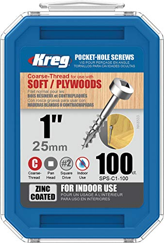 "Kreg SPS-C1-100 Pocket Screws, 1"" #7 Coarse-Thread, Pan-Head (100 Count)"