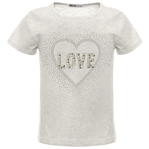 BEZLIT Mädchen Glitzer T-Shirt Herz Motiv Oberteil Kunst-Perlen 22538 Grau 152