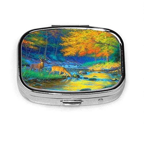 Hirsche lieben Herbst Sonnenuntergang Landschaft benutzerdefinierte Box Pille Fall/Pille Box/quadratische Pille Fall