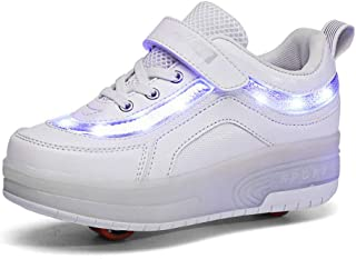 Feidaeu Gar/çons et Filles Baskets d/écontract/ées Printemps et Automne Confortable USB Charge Respirable Sports ext/érieurs Patins /à roulettes Shoelace