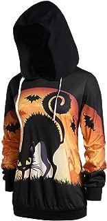 Womens Loos Cute Long Sleeve Halloween Pumpkin Bat/Cat Hooded Sweatshirt Tops
