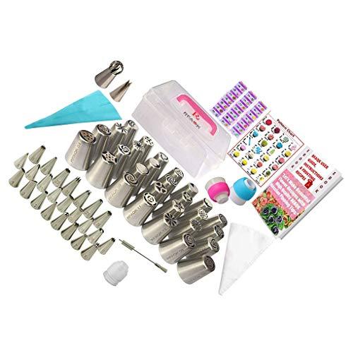 Mingtongli 90pcs Icing Taschen und Tipps Edelstahl Kuchen dekorieren Kit mit verdickter Dekorieren Taschen Küche Kuchen-Backen-Werkzeuge