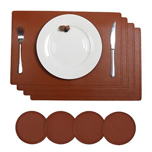 SHACOS 4er Set Kunstleder Platzsets und Untersetzer Rund Aus recyceltem Leder 4 Stück Platzset Braun Leder PU Tischset Abwaschbar Wasserdicht 45x30 cm
