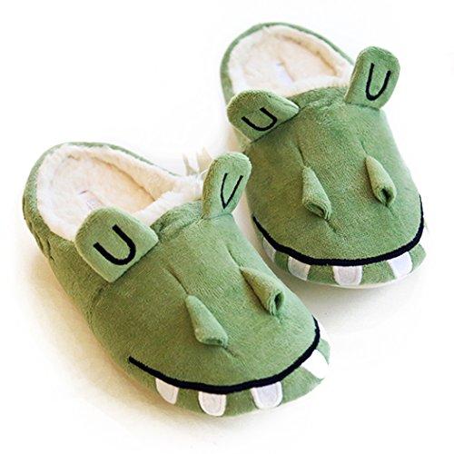 Halluci Damen-Hausschuhe im Imp Style, aus Fleece, Memory-Schaumstoff, Halloween-Hausschuhe, Grün - Wicky Krokodil - Größe: 42/43 EU
