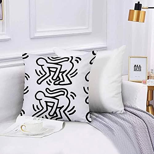 Federa per Divano,Federa Quadrata,Scimmia di Keith Haring Fodera per Cuscino,per Soggiorno,Camera,Divano 45x45cm