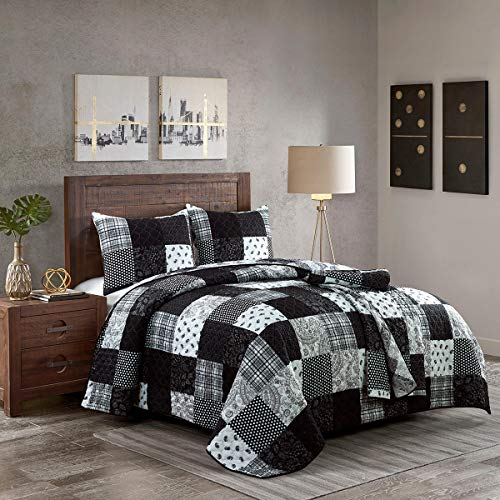 Donna Sharp Full/Queen Bedding Set - 3 Piece - London Contemporary Quilt Set with Full/Queen Quilt and Two Standard Pillow Shams - Fits Queen Size and Full Size Beds - Machine Washable