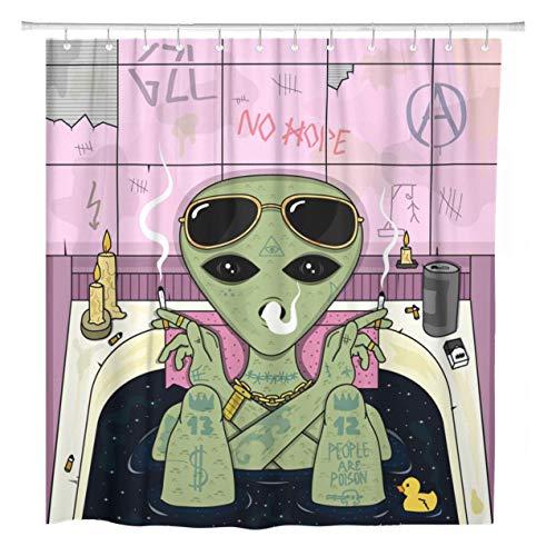 AdaCrazy Duschvorhang Trippy Alien Rauch & Chill in Bad Zigarettengläser Home Badezimmer Dekor Polyester Stoff Wasserdicht 72 x 72 Zoll Set mit Haken