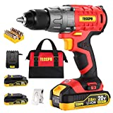 "Cordless Drill Set, 20V Brushless Drill Driver, 2x 2.0Ah Li-ion Batteries, 530 In-lbs Torque, 1/2"" All-metal Chuck, 21+1 Torque Settings, 0-1500RPM Variable Speed, 33pcs Accessories with Case"