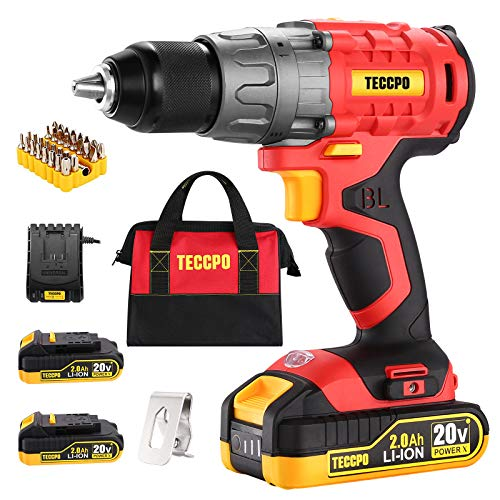 """Cordless Drill Set 20V Brushless Drill Driver 2x 20Ah Liion Batteries 530 Inlbs Torque 1/2"""" Allmetal Chuck 211 Torque Settings 01500RPM Variable Speed 33pcs Accessories with Case"""