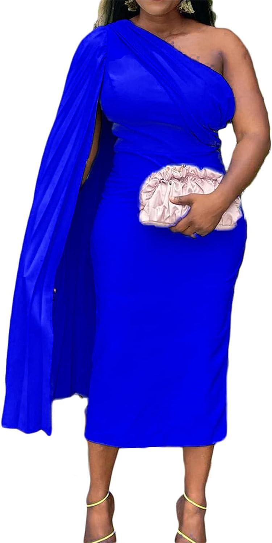 SAMACHICA Elegant One Shoulder Cape Dress for Women Solid Color Off Shoulder Cocktail Bodycon Sheath Blue X-Large