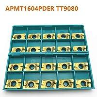 CNCツールAPMT1604 PDER TT9080内部ラウンドメタルカーバイドインサートAPMT1604旋盤ツールフライス工具を回します (Color : APMT1604 PDER TT9080, Size : 20PCS)