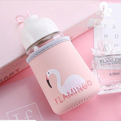 generisch Wasserflasche aus Glas Flamingos Design Schutzhülle Glastrinkflasche mit Hülle Trinkflasche für Kinder Schülerin Mädchen BPA Frei für Schule Büro Ausflüge Wanderung zu Hause 300ml