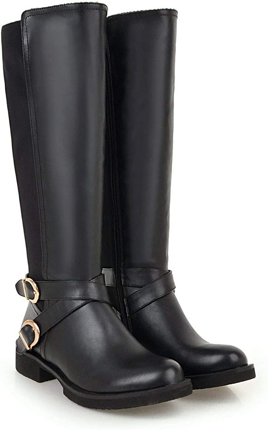 Women's Riding Boots Knee High Boots Boots Low Heel Round Toe Cool Boots with Buckle Zipper for Fall Winter Black White