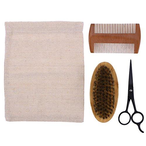 Frcolor Kit de toilettage et de tonte de barbe pour homme, brosse à poils, peigne en bois, ciseaux moustache, sac de rangement
