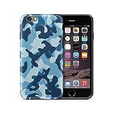 Cujas iPhone 6 6S kompatible Hülle Weiche Camouflage TPU Silikon Schutzhülle Blickdicht mit IMD Technologie Camo Militär Muster Case Schutz Handyhülle (iPhone 6 / 6S Blau)