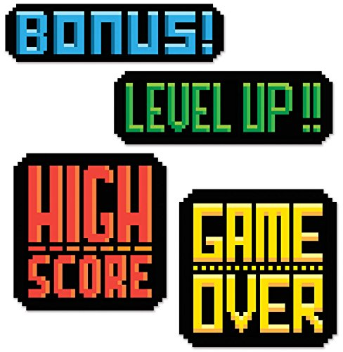 Video Game Party 8-Bit Action Sign Cutouts