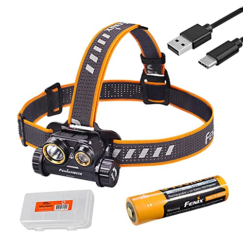 Fenix HM65R 1400 Lumen Spot and Flood Dual Beam USB-C Rechargeable Headlamp with Battery and LumenTac Battery Organizer
