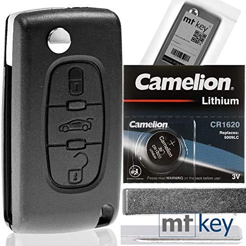Klapp Schlüssel Gehäuse Funkschlüssel Fernbedienung Autoschlüssel HU83 + Batterie kompatibel mit Citroen/Peugeot/FIAT