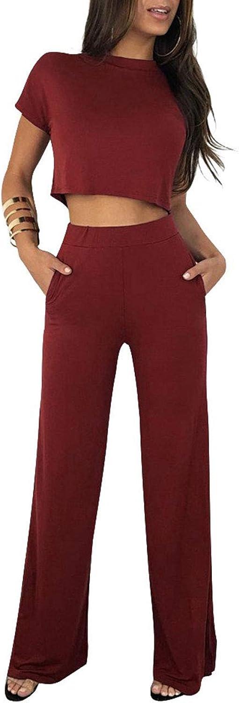 Akmipoem Women's 2 Piece Outfit Short Sleeve Crop Top and Wide Leg Pants Set