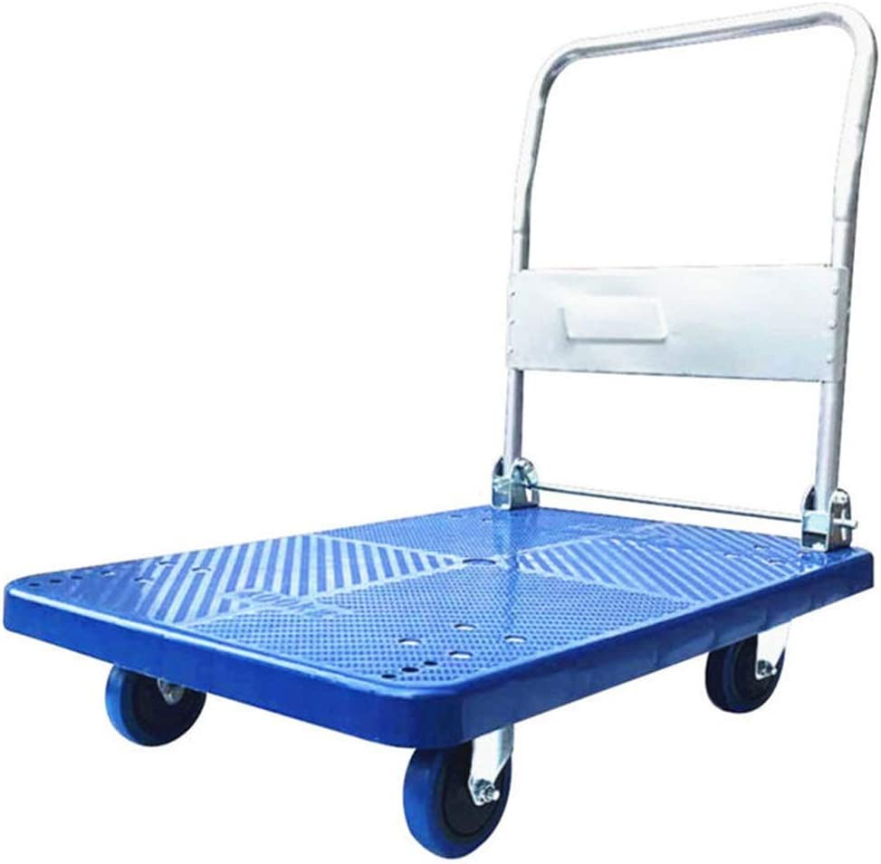 Thickening Trolley Folding Mute Flat Shopping Cart Home Pulling