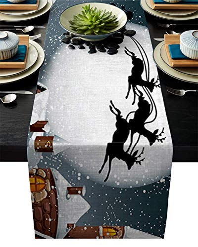 Pag Crane Durable Fabric Table Runner,Reindeer Sleigh Flying in The Sky Moon Chirstmas Snow Night Washable Table Runners