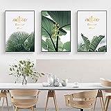 Hojas de vid verde Pinturas en lienzo Imagen de arte de pared Combinación de plantas en inglés dorado Cartel creativo Ackground Pared para decoración del hogar -40x60cmx3 No Frame