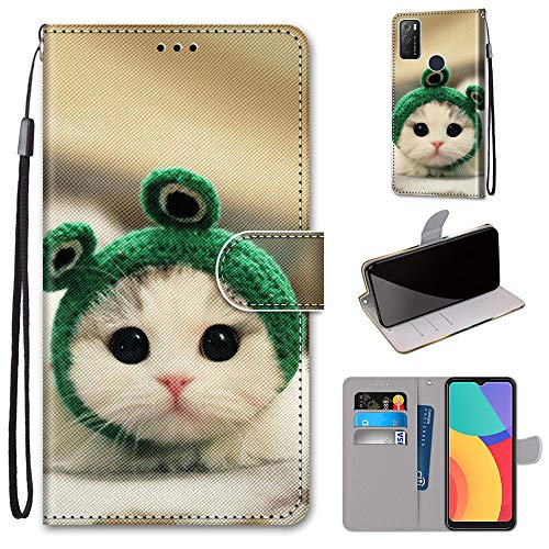 1S 2021 Hülle für Alcatel 1S 2021 Flip Case Stoßfest Bumper Cover Soft TPU Painted Wallet Phone Case (Kat)
