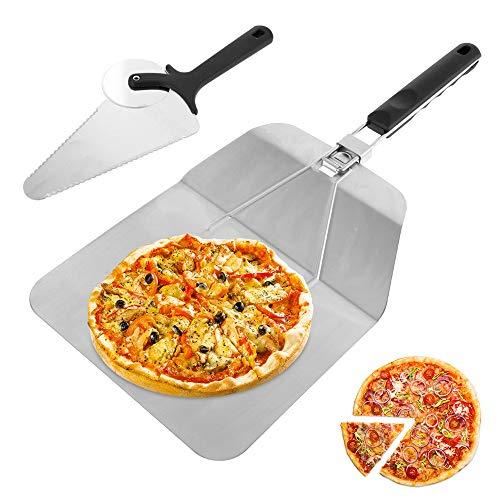 harupink Pala para pizza de acero inoxidable, plegable, antideslizante, con accesorios para cortapizza, para hornear pizzas y tartas en horno y grill, 31 x 54 cm
