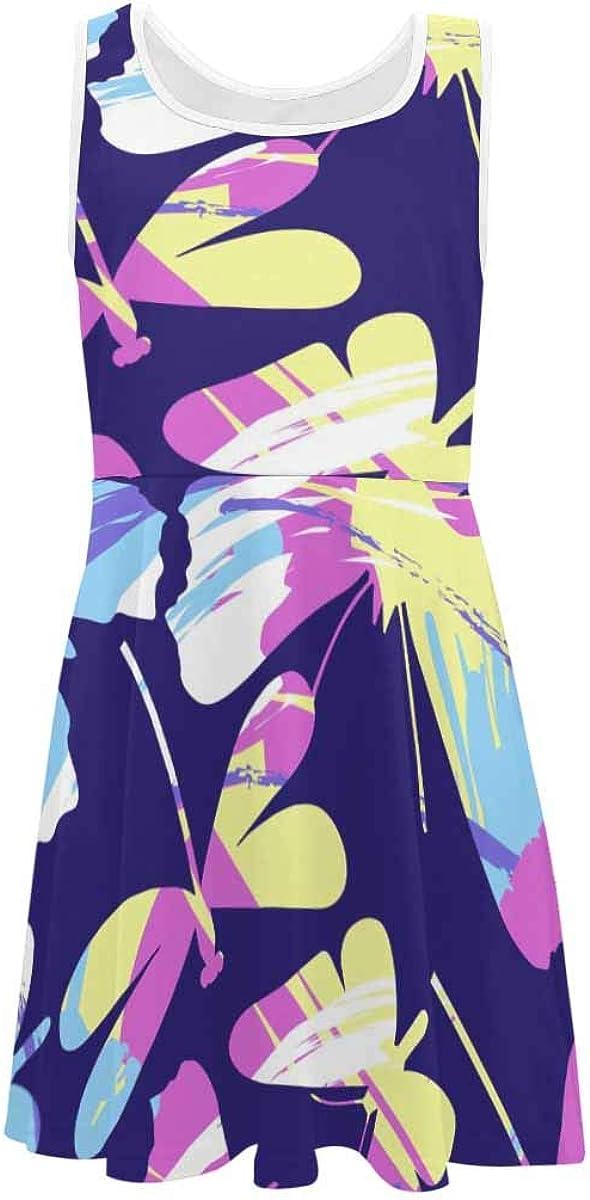 InterestPrint Girls Summer Dress Sleeveless Crew Neck Dress Bright Polka Dots Background (2T-XL)