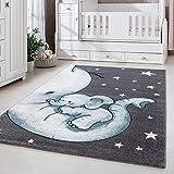 Kinderteppich Kinderzimmer Babyzimmer Niedlicher Elefant Grau Blue Weis Oeko Tex, Maße:120x170 cm