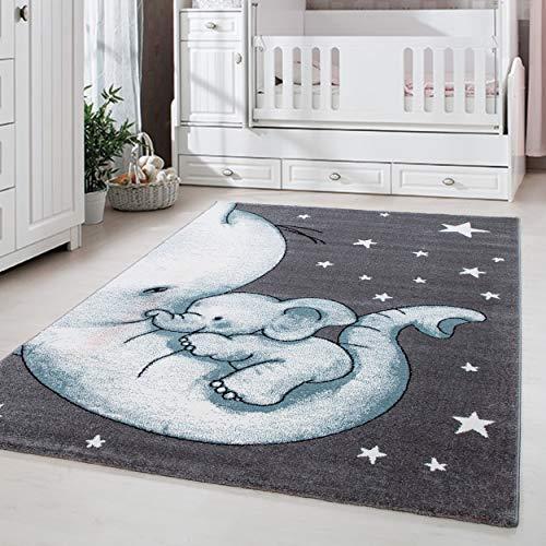 Kinderteppich Kinderzimmer Babyzimmer Niedlicher Elefant Grau Blue Weis Oeko Tex, Maße:Ø 160 cm Rund
